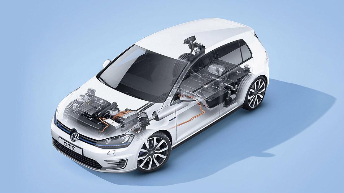 Genomskärning på elmotorn i en Volkswagen e-Golf