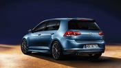 Blå Volkswagen Golf.