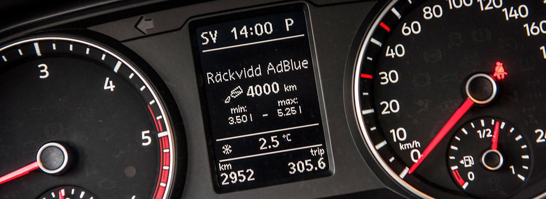 Räckvidd AdBlue visas på instrumentpanelen