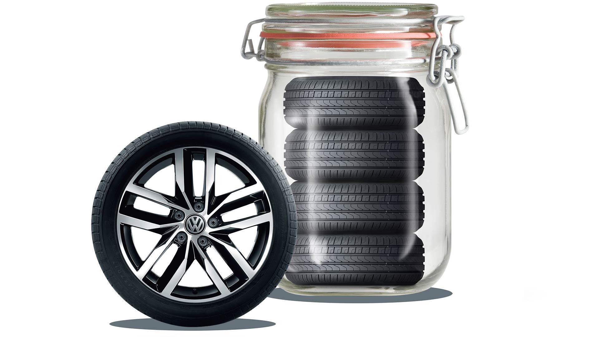 Volkswagen däckförvaring i glasburk