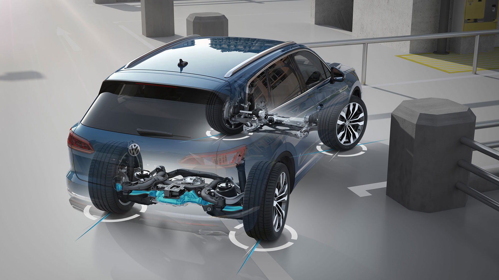 Bil i genomskärning som visar tekniken bakom fyrhjulsdrift i en Volkswagen