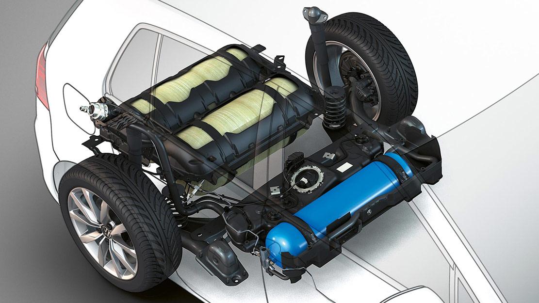 Bil i genomskärning som visar gastankarna i en Volkswagen